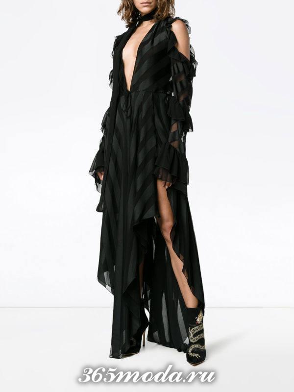 новогоднее черное асимметричное платье с полоску