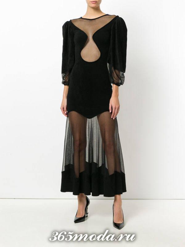 новогоднее черное прозрачное платье с пышными рукавами