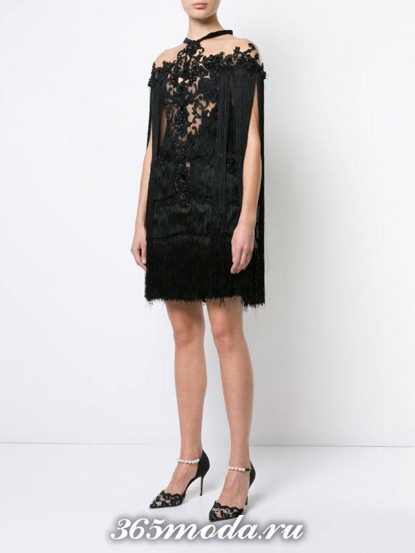 новогоднее черное мини платье с декором