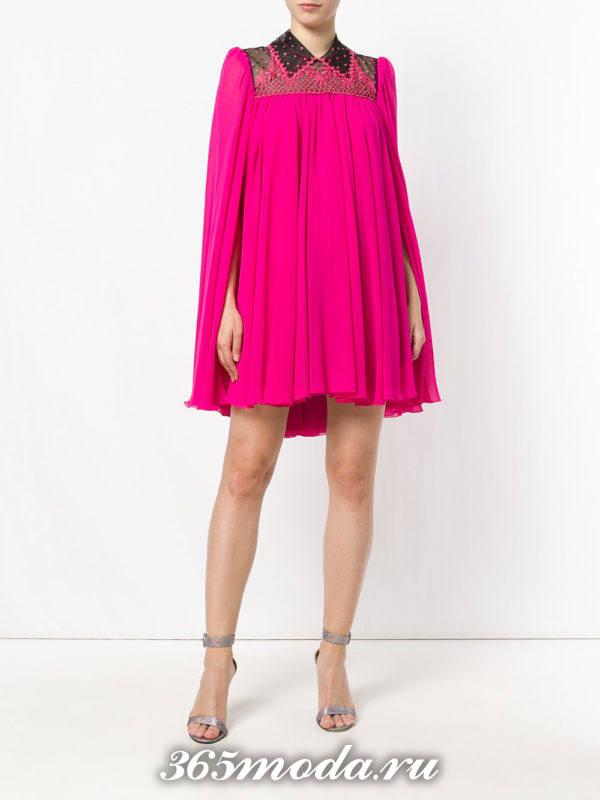 новогоднее пурпурное широкое мини платье