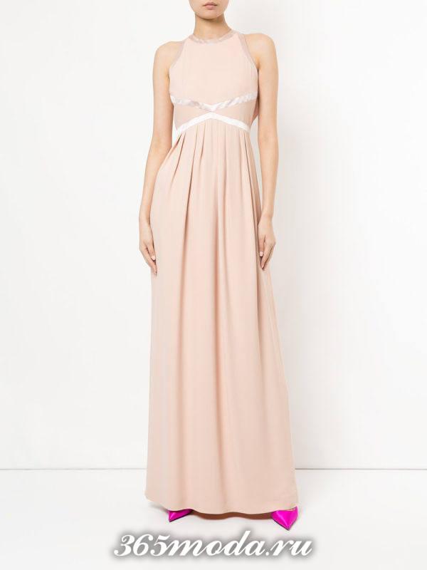 новогоднее розовое макси платье с полосками