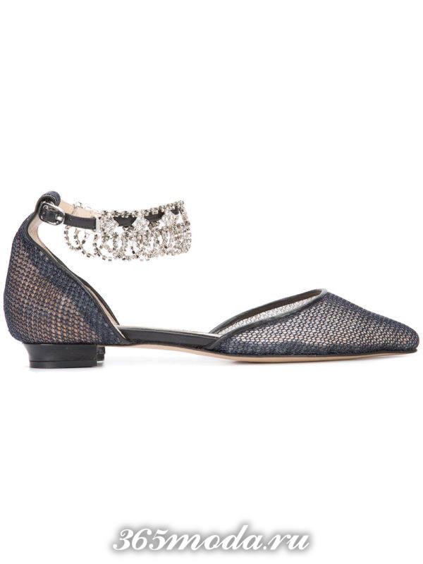 новогодние туфли на низком ходу с декором