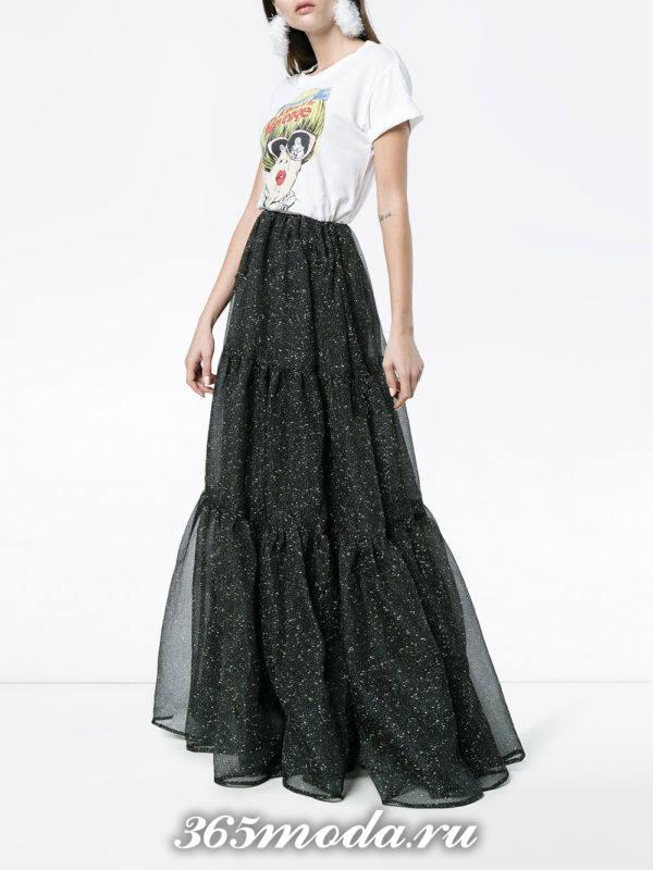 новогодняя блестящая юбка макси с футболкой с рисунком