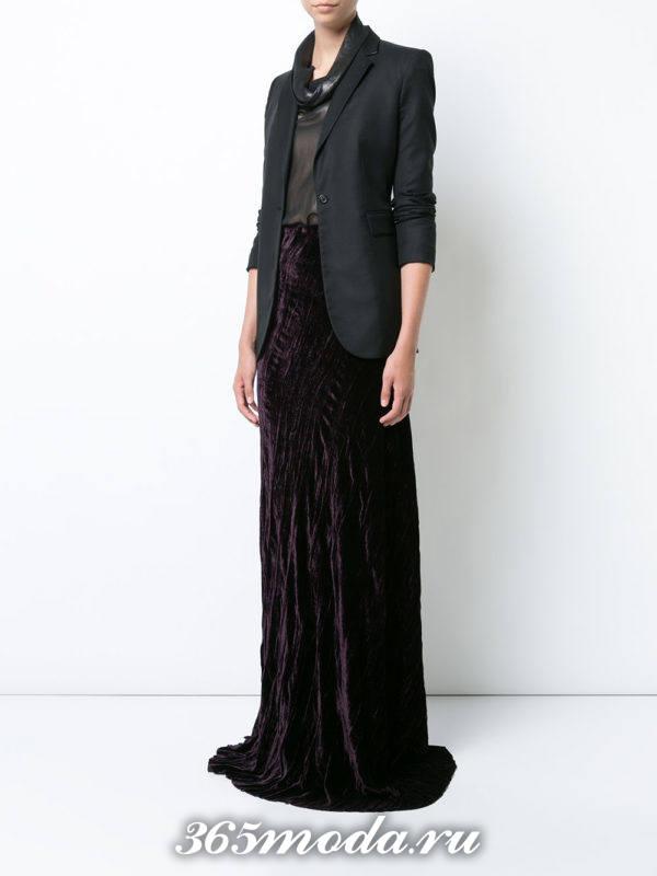 новогодняя бархатная макси юбка с черным пиджаком