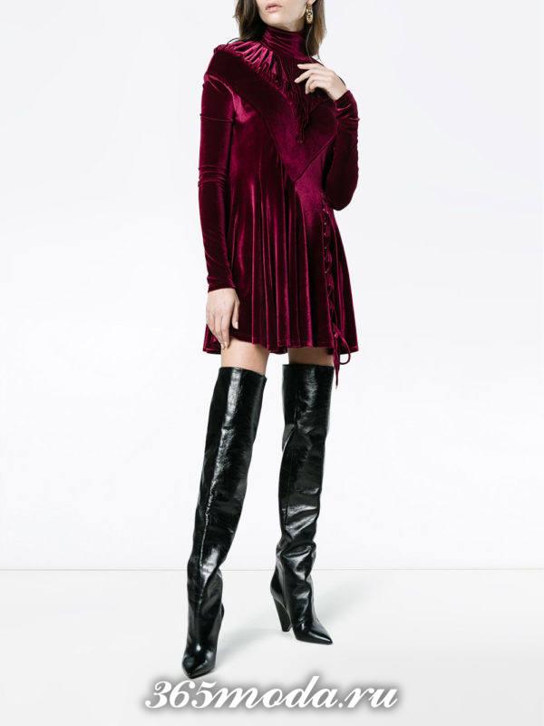 новогоднее бархатное бордовое мини платье