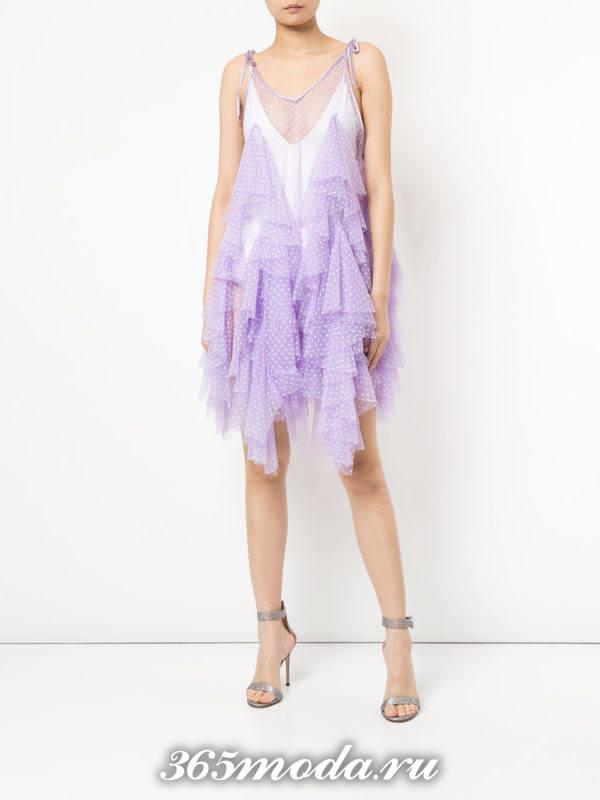 новогоднее фиолетовое асимметричное платье