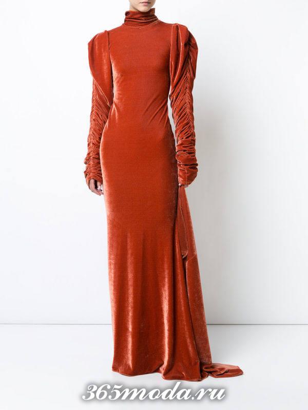новогоднее бархатное оранжевое макс платье