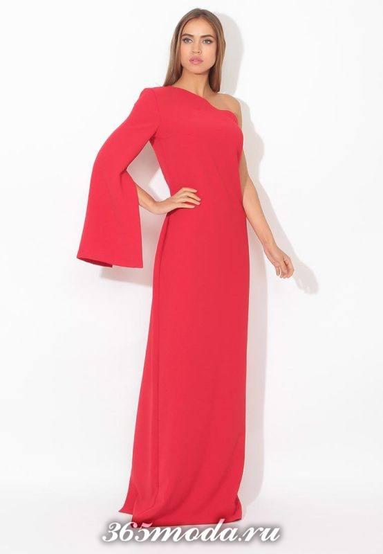 новогоднее асимметричное красное маки платье