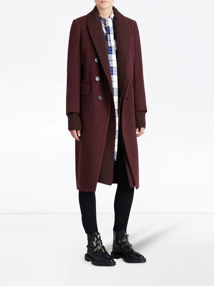 пальто миди цвета марсала
