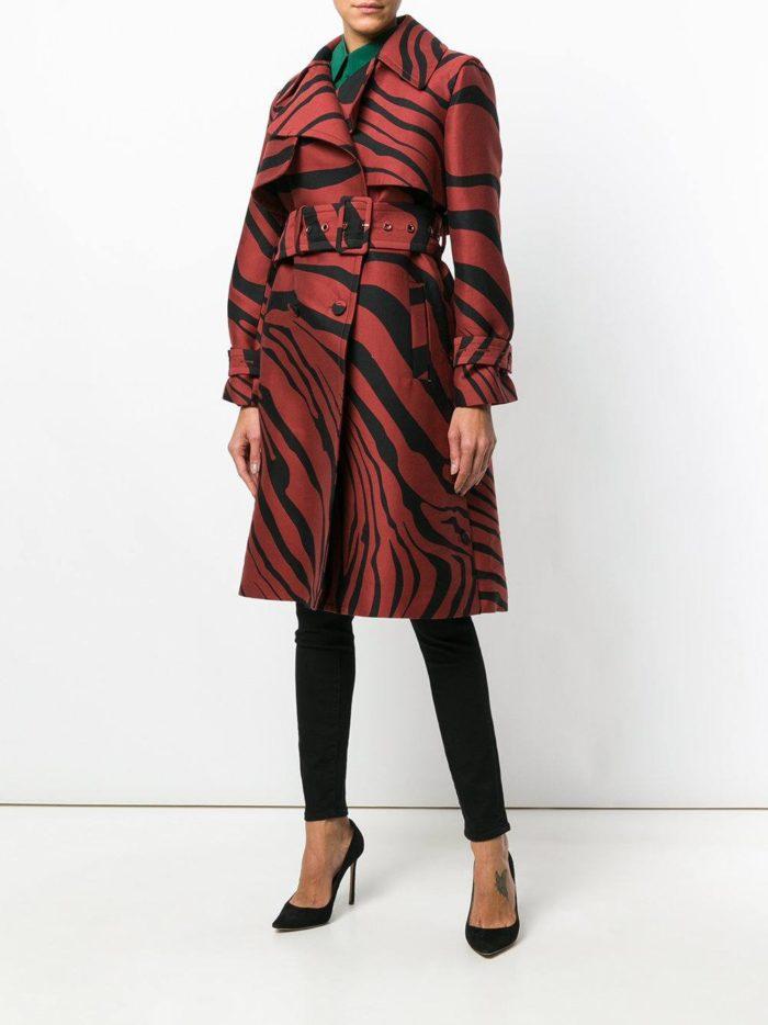 пальто с принтом марсала
