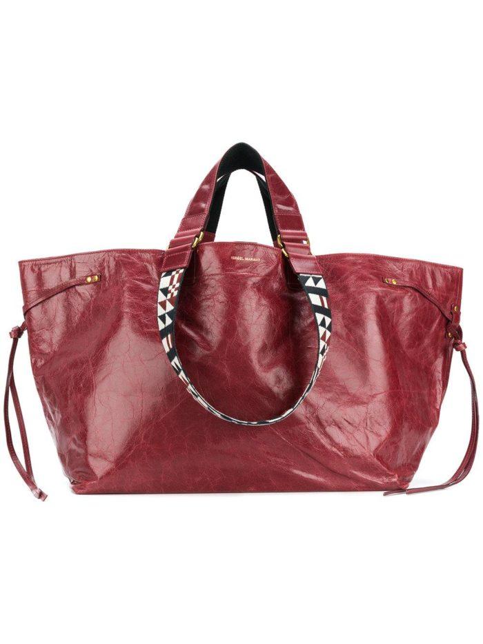 большая сумка цвета марсала с декором