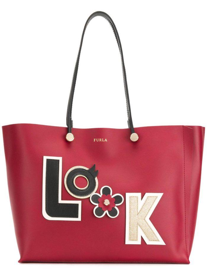 большая сумка цвета марсала с надписью