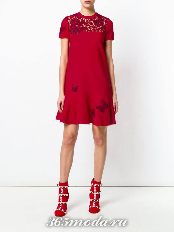 короткое платье марсала