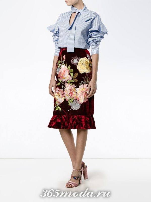 юбка марсала с декором