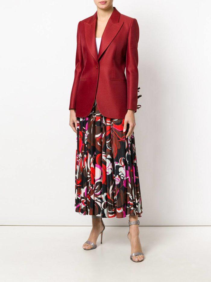 пиджак марсала и юбка плиссе