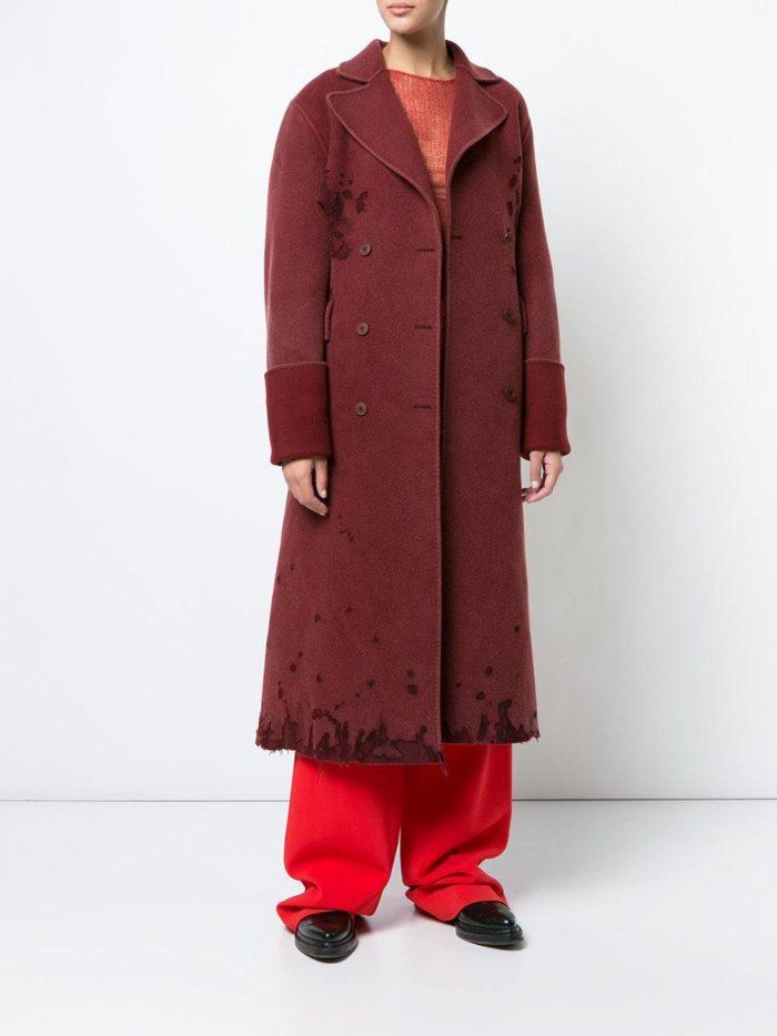 пальто марсала с декором