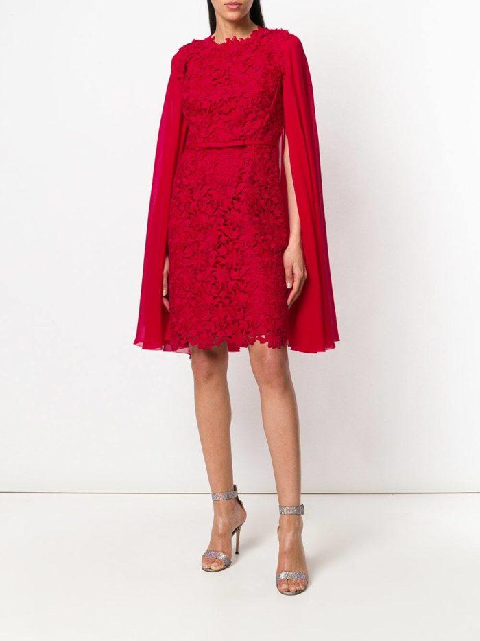 кружевное платье кейп цвета марсала