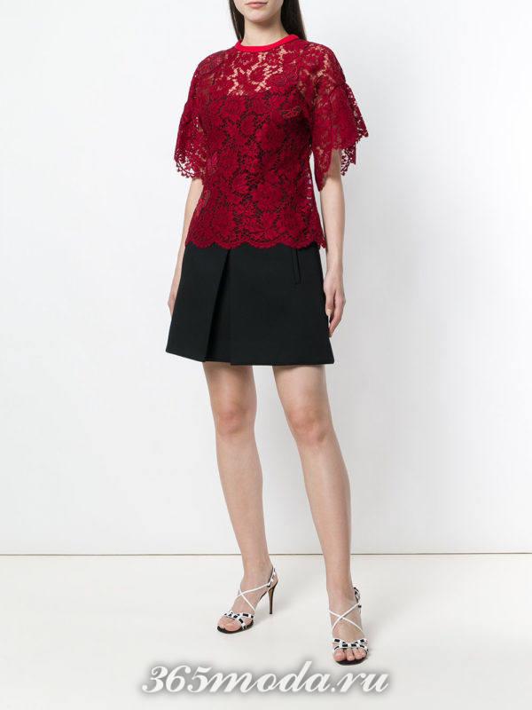 кружевная блуза марсала с короткими рукавами