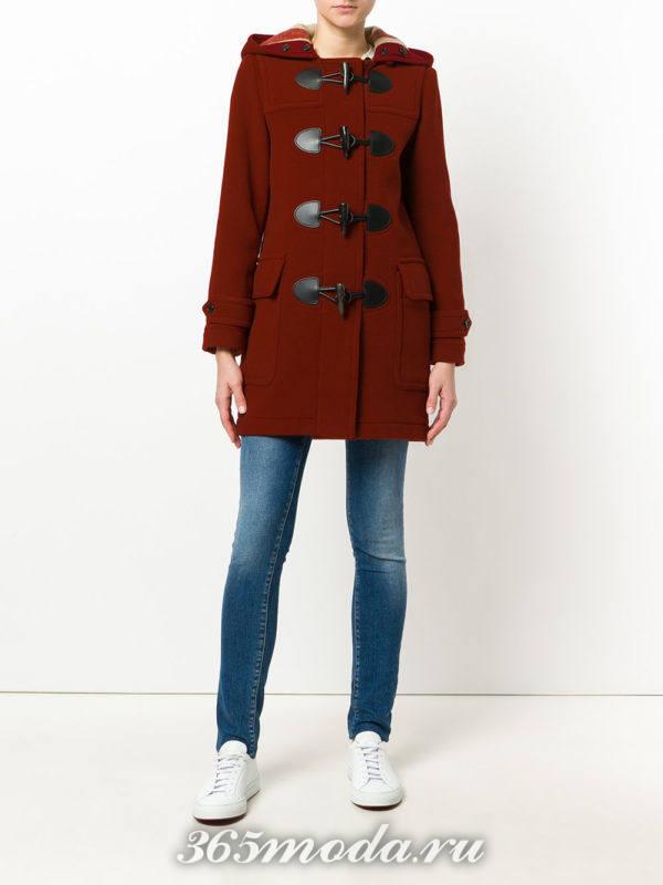 короткое пальто марсала на застежках