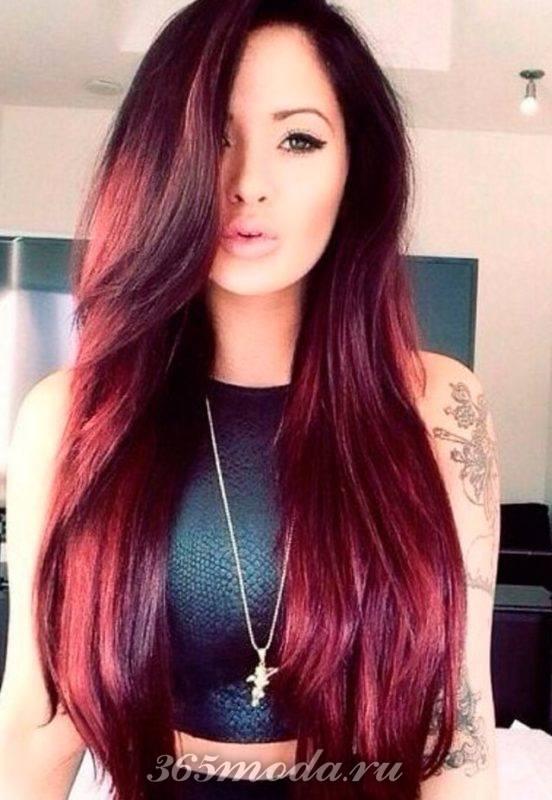 цвет марсала для длинных волос