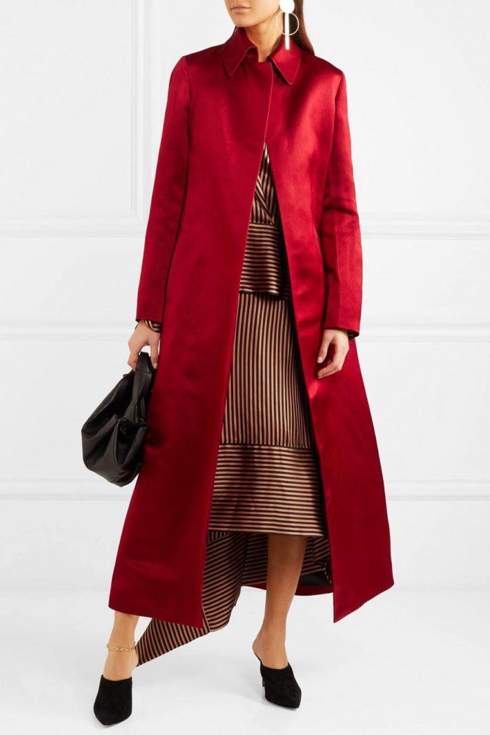 шелковое пальто цвета марсала