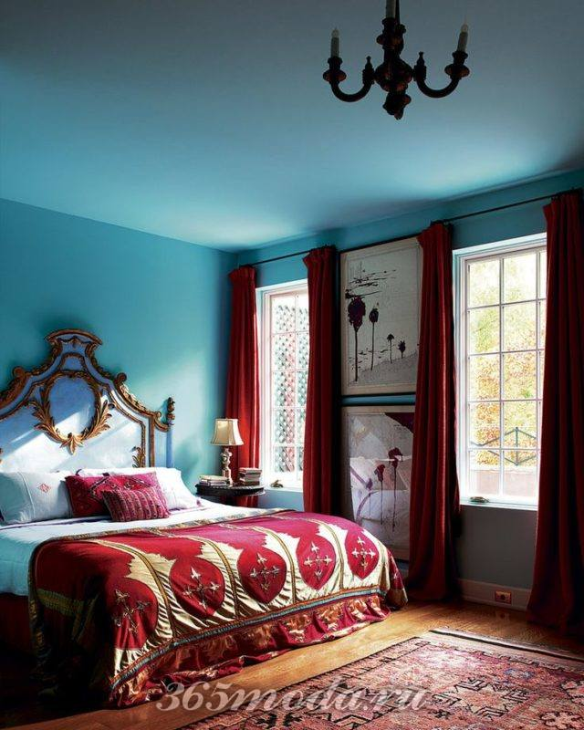 спальня цвета марсала