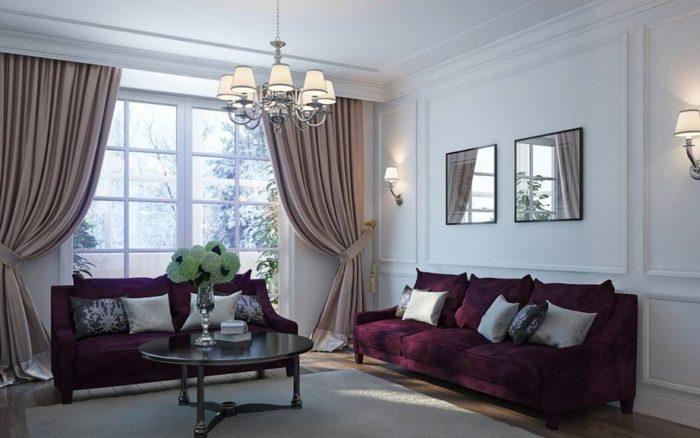 интерьер с диваном марсала