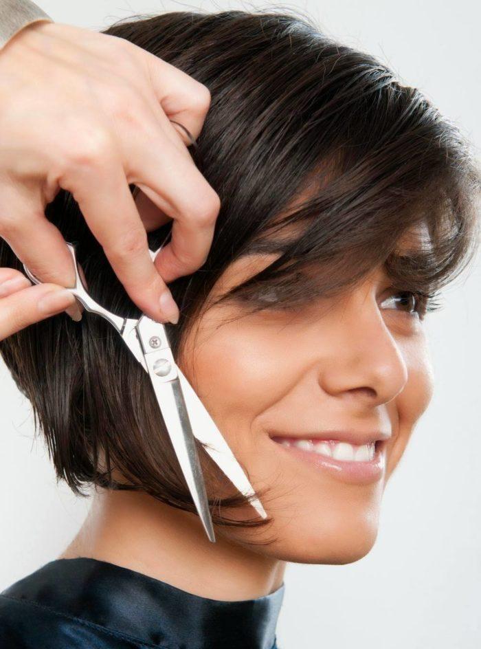 Стрижка каре на ножке на короткие волосы