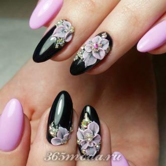 двухцветные ногти с декором