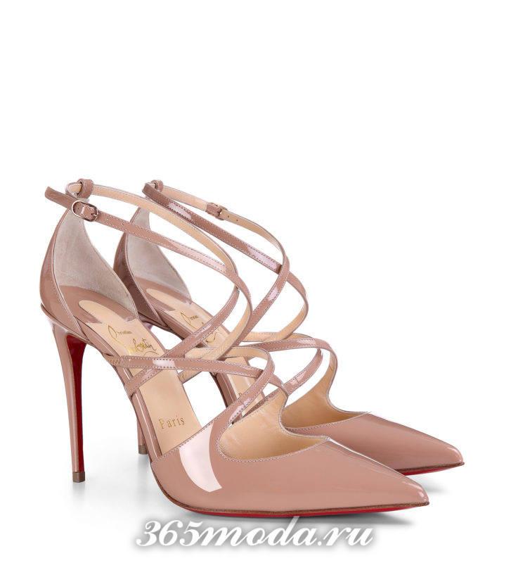 бежевые туфли на шпильке с ремешками