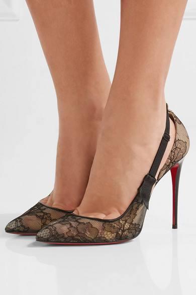туфли лабутены: кружевные на шпильке с острым носком
