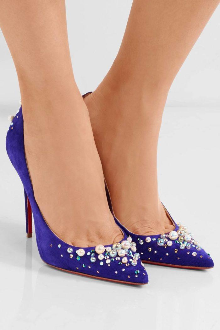 туфли лабутены: синие с острым носком и декором
