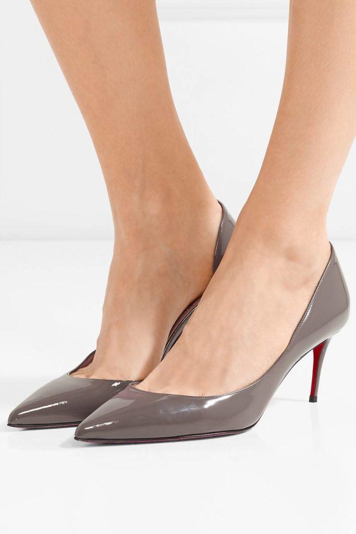 кофейные туфли на среднем каблуке