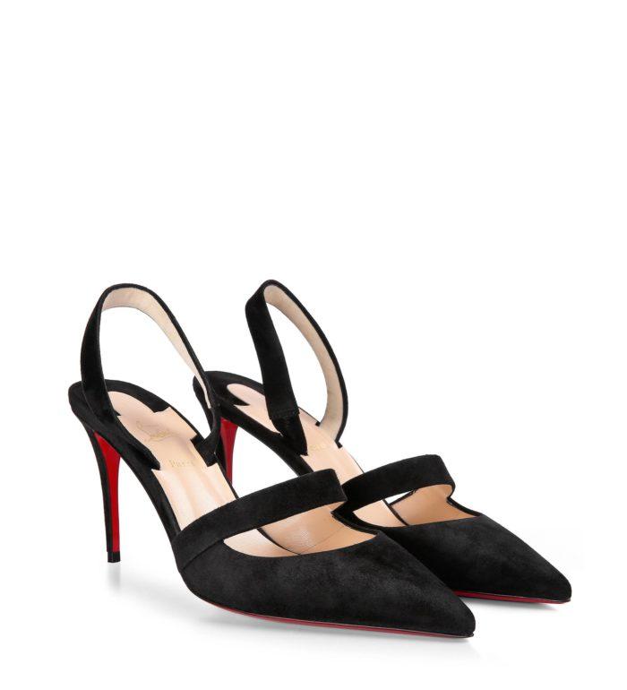 лабутены: черные туфли на шпильке с ремешками
