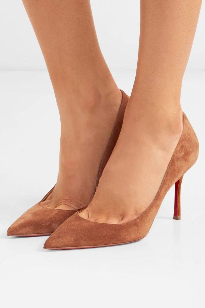туфли лабутены: коричневые замшевые на шпильке