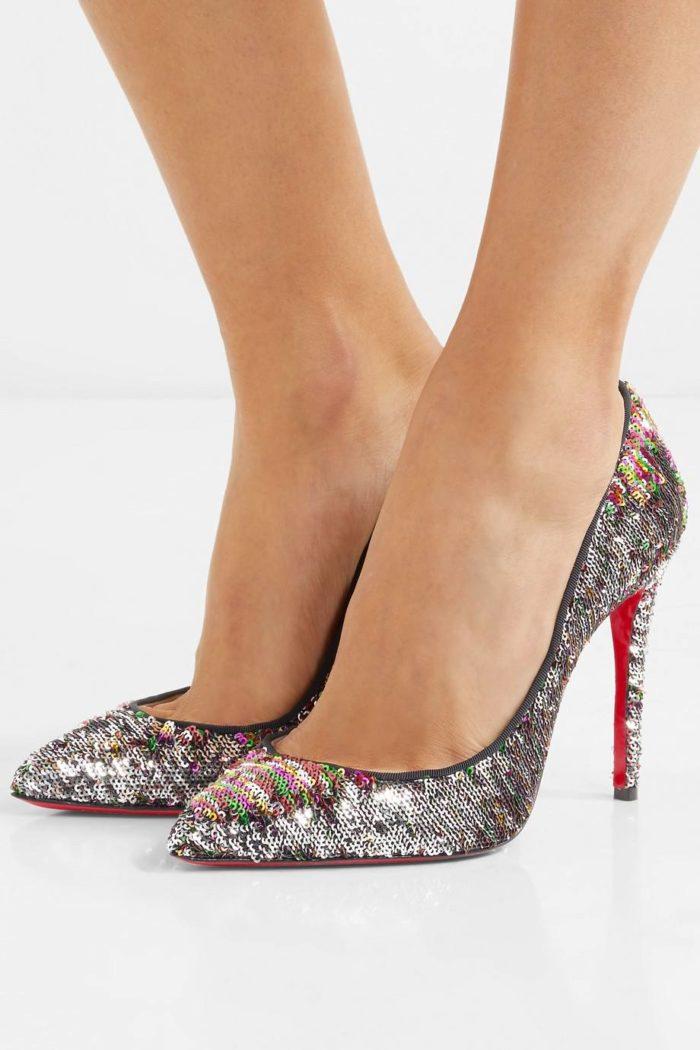 туфли лабутены: блестящие на шпильке