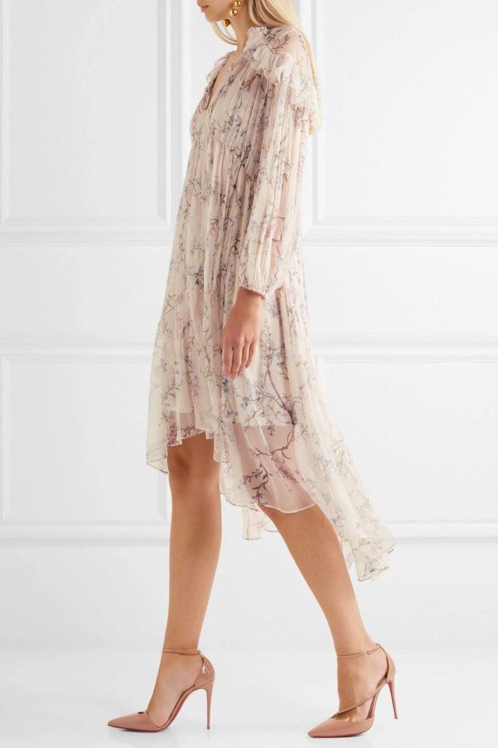 туфли лабутены: лаковые с шифоновым платьем