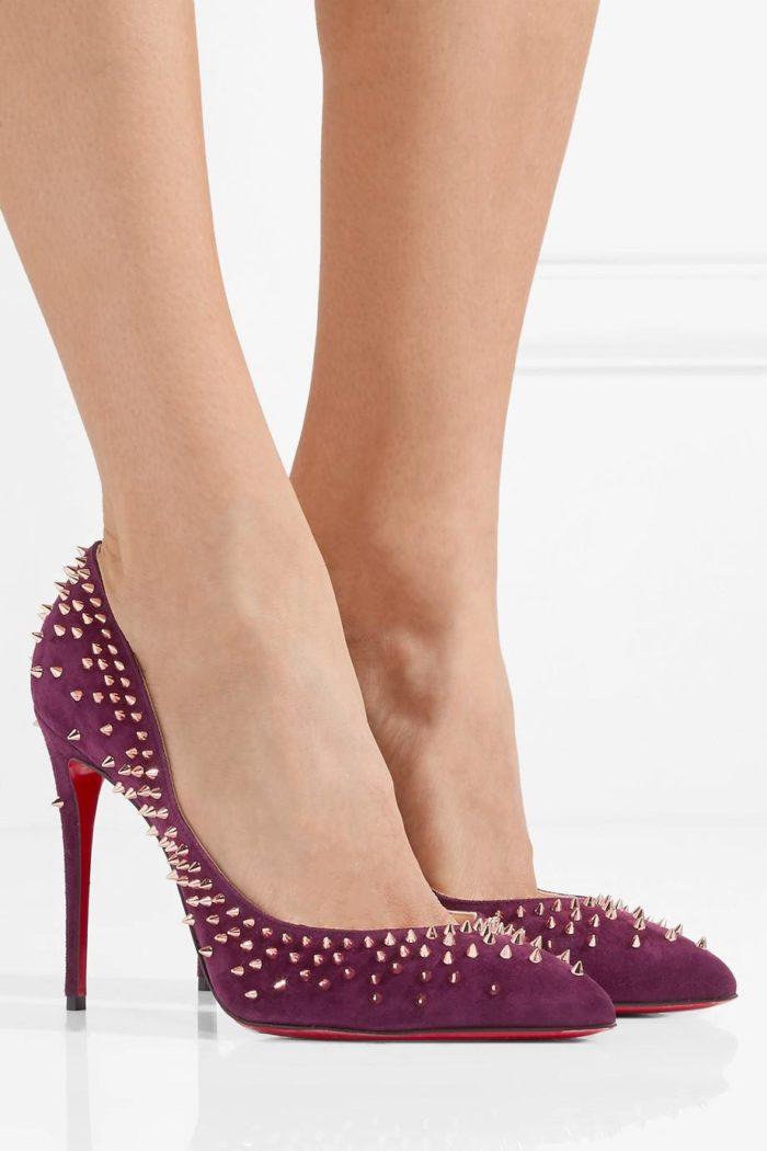 туфли лабутены: фиолетовые с шипами на шпильке