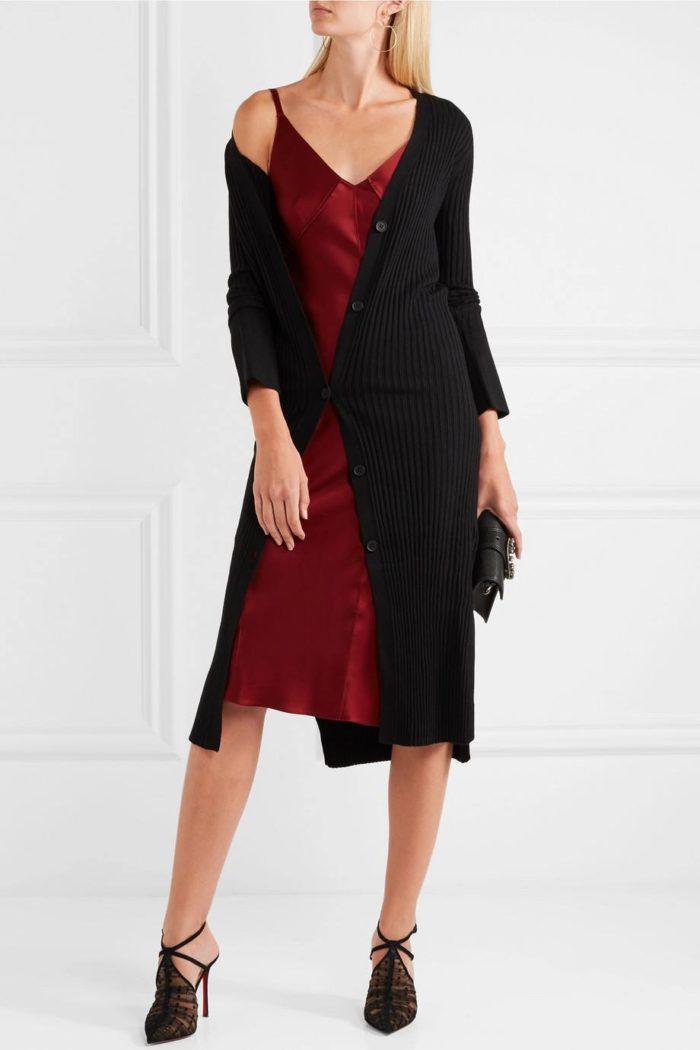 туфли лабутены: прозрачные с платьем миди и кардиганом