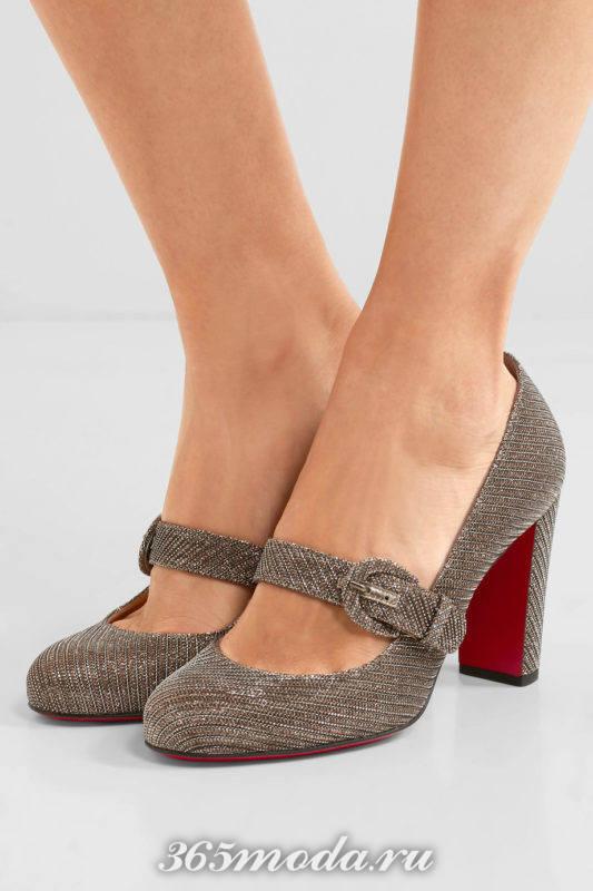 туфли на толстом каблуке с пряжкой