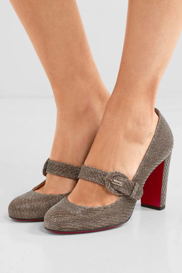 туфли лабутены: на толстом каблуке с пряжкой