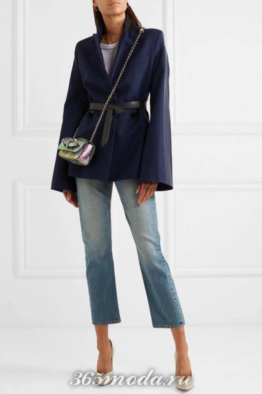 лабутены на шпильке с джинсами и пиджаком