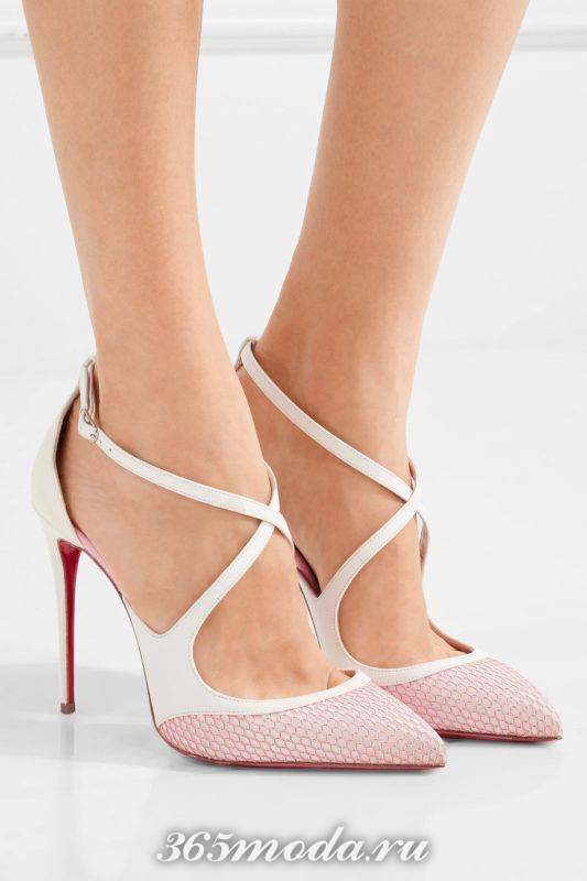 двухцветные туфли на шпильке с переплетом