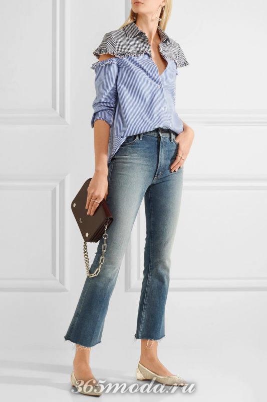 бежевые балетки с джинсами и блузкой