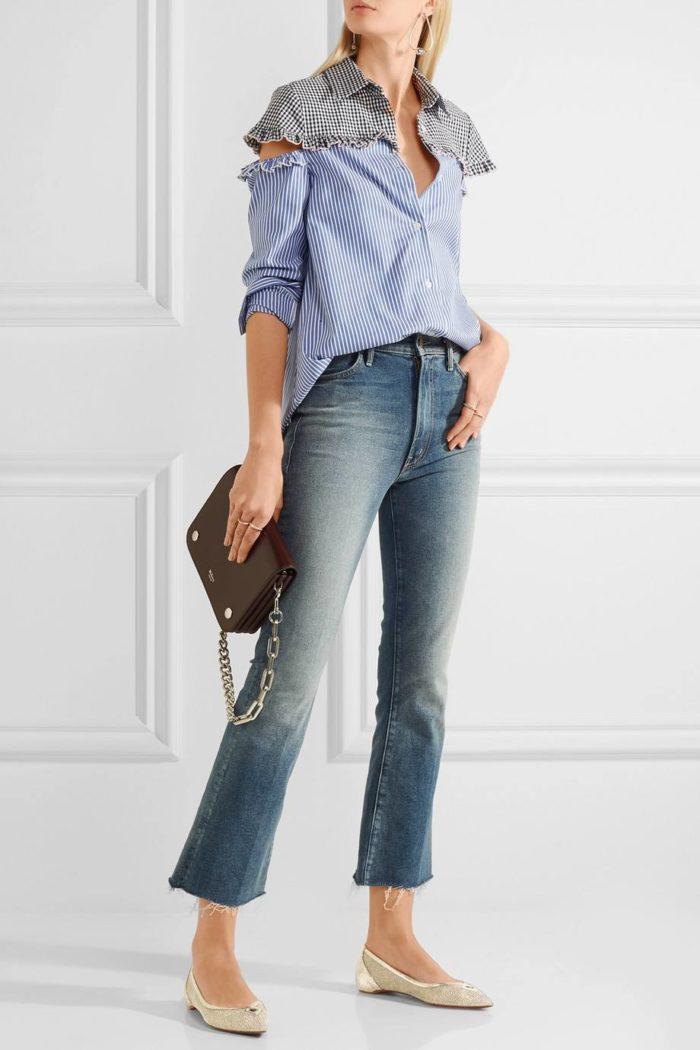 туфли лабутены: бежевые балетки с джинсами и блузкой