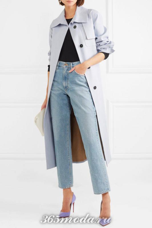 лиловые лабутены с джинсами и плащем