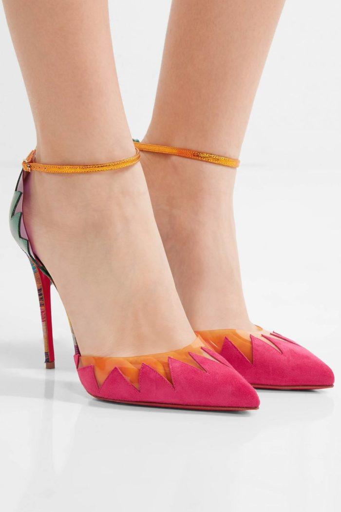 лабутены: розовые туфли с декором на шпильке