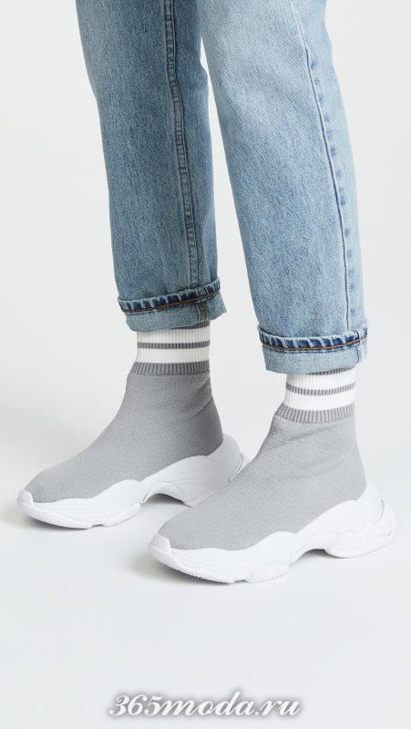 высокие серые кроссовки