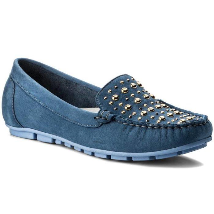 женская обувь весна лето: синие мокасины с декором