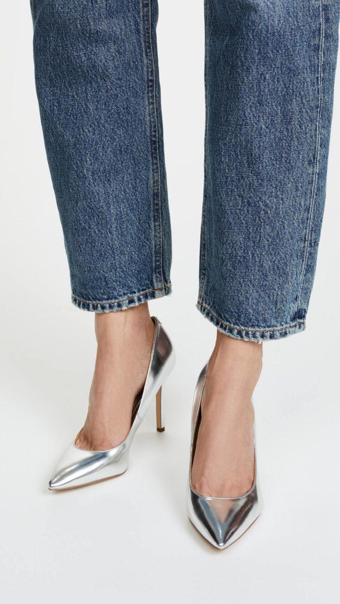 женская обувь весна лето: серебристые туфли на шпильках